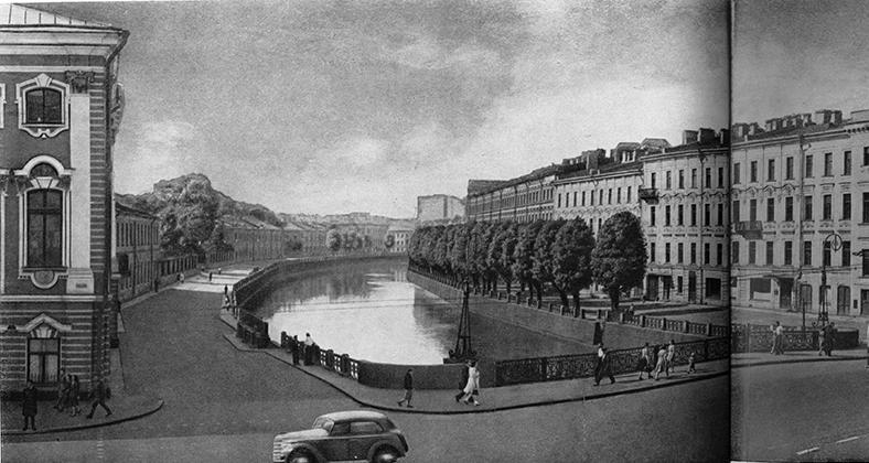 Народный мост в конце 1940-х — начале 1950-х годов, до воссоздания фонарей