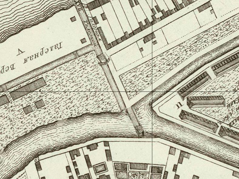 Галерный мост и Галерная верфь на карте 1753 года, источник: http://www.retromap.ru/