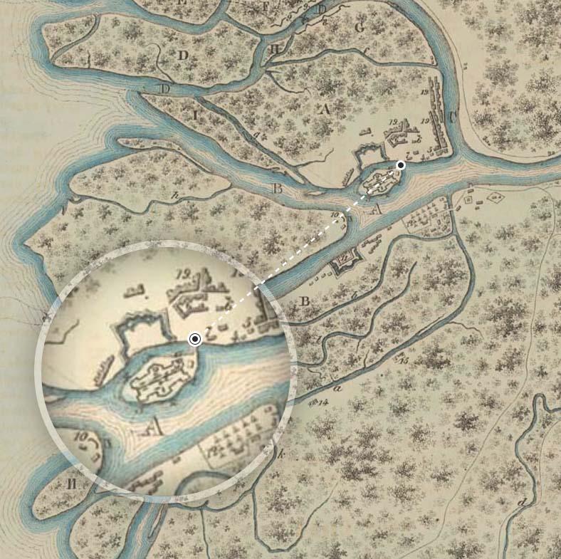 Наплавной мост на плане Санкт-Петербурга 1705 года