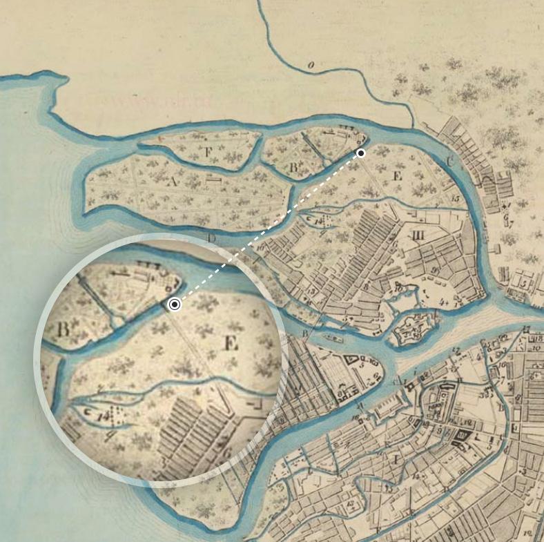 Переправа через Малую Невку на плане Санкт-Петербурга 1756 года