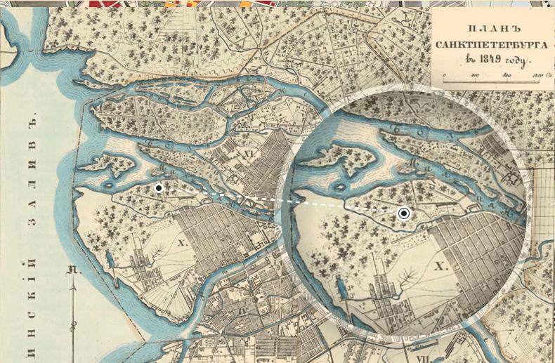 Река Славянка на карте Петербурга 1849 года. Источник: http://www.aroundspb.ru/maps/spb1700_1849/37_w.jpg