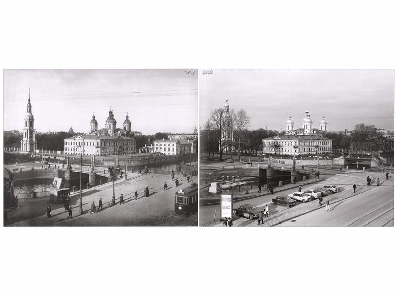Вид на набережную Екатерининского канала (Грибоедова) и на Никольский собор в 1913 году (слева) и в 2008 году (справа). Источники: http://oldsp.ru/old/photo/view/793, http://pantv.livejournal.com/775474.html (блогер Антон Путятин)