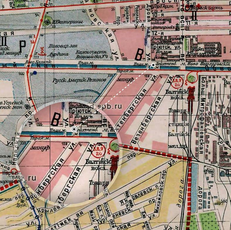 Лейхтенбергский  мост и одноименная улица на плане Петрограда 1916 года