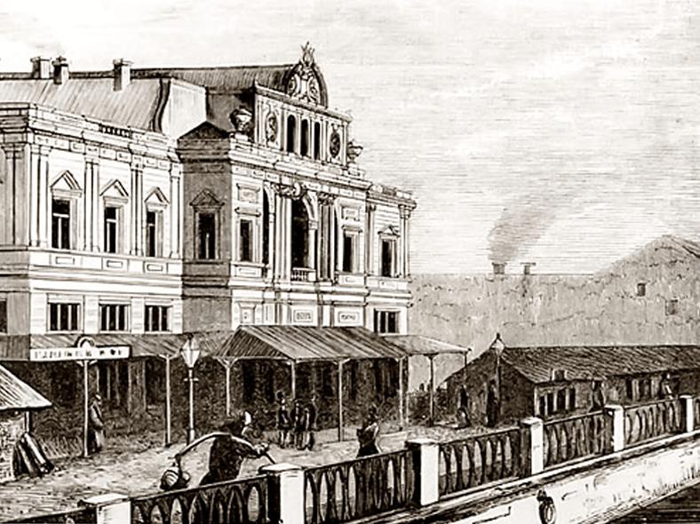 Малый (Суворинский) театр до постройки моста, конец XIX века. Источник: http://old.spbvedomosti.ru/
