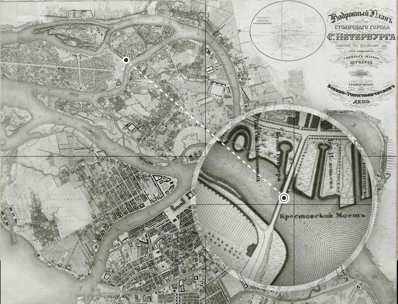 Крестовский мост на плане Петербурга 1828 года. Источник: http://retromap.ru/