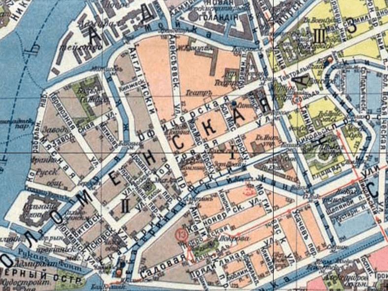 Мост на плане Петербурга с окрестностями, 1913 год (источник: http://www.retromap.ru/)
