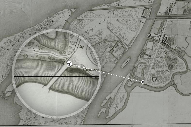 Река Таракановка, Екатерингофский проспект и Молвинский мост на плане Санкт-Петербурга, снятом генерал-майором Шубертом в 1828 году