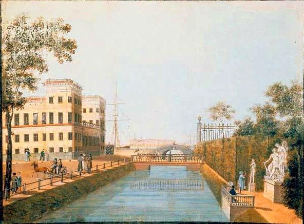 Один из деревянных мостов через Лебяжью канавку 1-й половины XIX века (И.М. Белоногов. Лебяжья канавка. 1839 год)