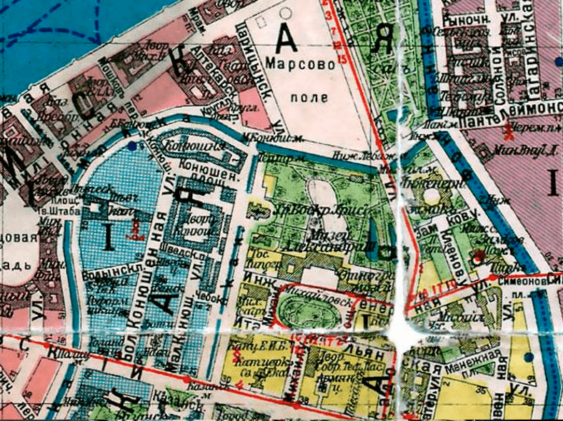 Мост на плане Санкт-Петербурга 1916 года, источник: http://www.retromap.ru/forum/viewtopic.php?t=4059