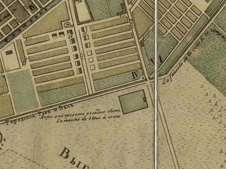Переправа через Городской ров по оси Московского тракта на плане Санкт-Петербурга 1804 года.