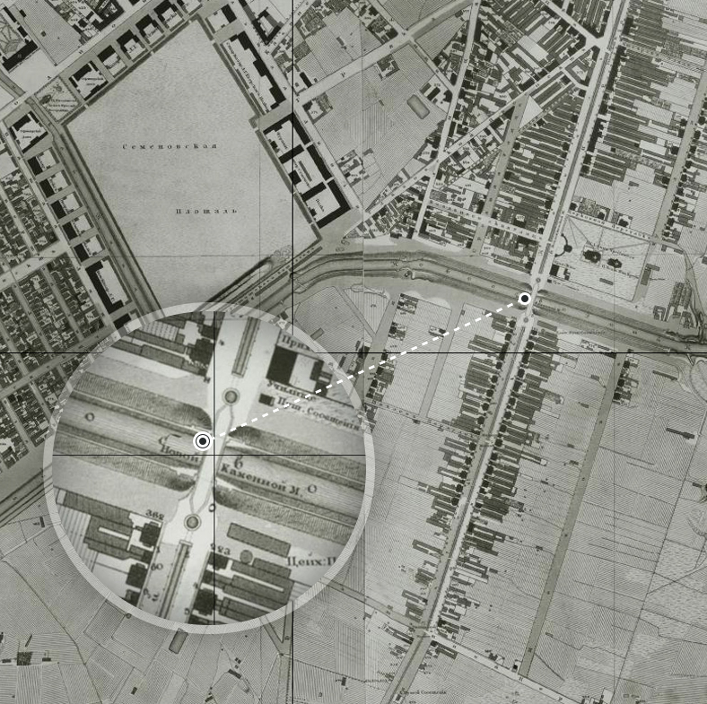 «Новый Каменный мост» на карте 1828 года