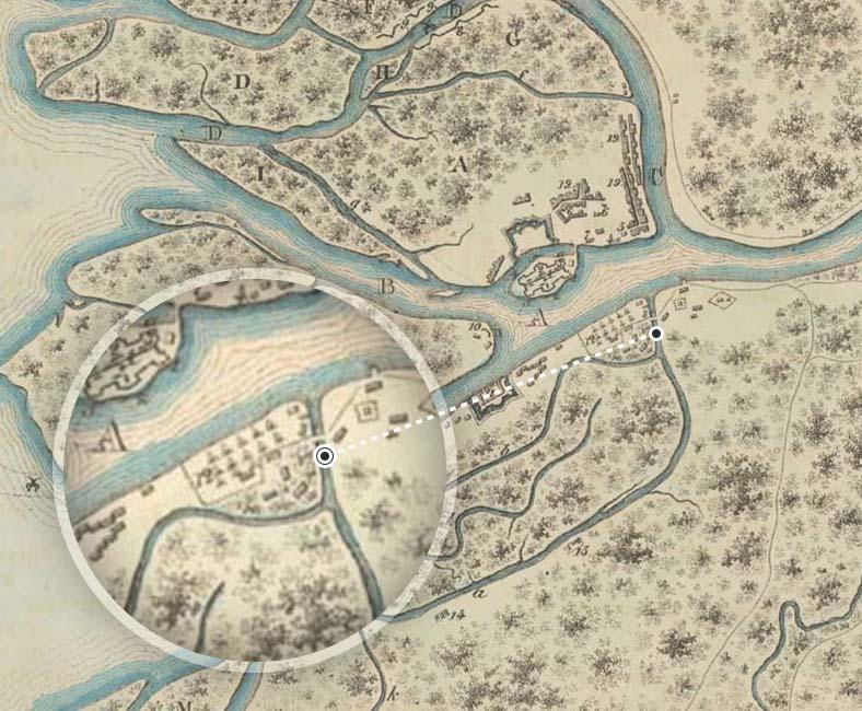 Мост-плотина на плане Санкт-Петербурга 1705 года