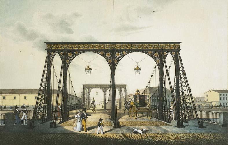Вид Цепного Пантелеймоновского моста через Фонтанку. Литография К.П. Беггрова с рис. В. фон Треттера. 1824 год