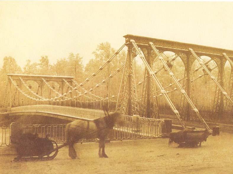 Цепной мост в 1853 году, фото И.К. Бианки