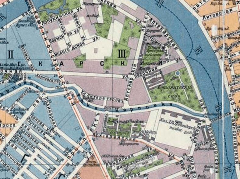 Старый Петропавловский мост на плане Санкт-Петербурга 1913 года, источник: http://www.retromap.ru/