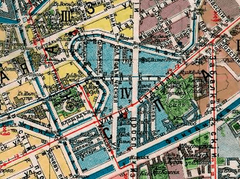 Большая Подъяческая улица и пешеходный мост на плане Петербурга 1916 года, источник: http://retromap.ru/