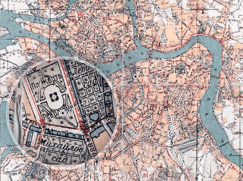 Трамвайный маршрут через новый мост на плане Ленинграда 1933 года. Источник: http://www.aroundspb.ru/karty/225/len_1933.html