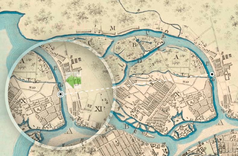Расположение моста на плане Санкт-Петербурга 1799 года. Источник: http://www.aroundspb.ru/
