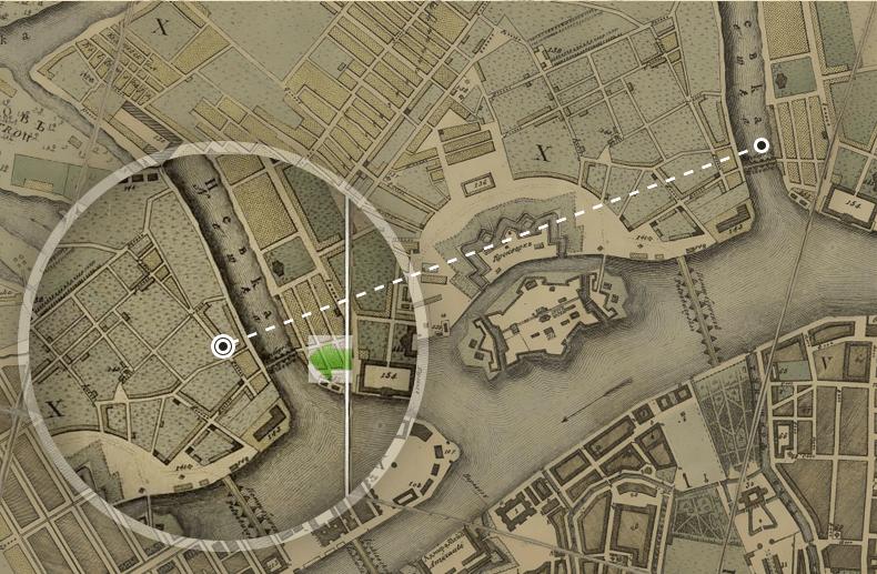Расположение моста в 1804 году. План столичного города Санкт-Петербурга, выполненный гравером А. Савинковым. Источник: http://www.etomesto.ru/