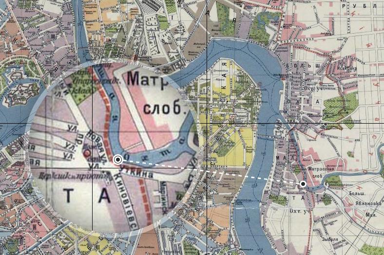 Район переправы на плане города 1913 года