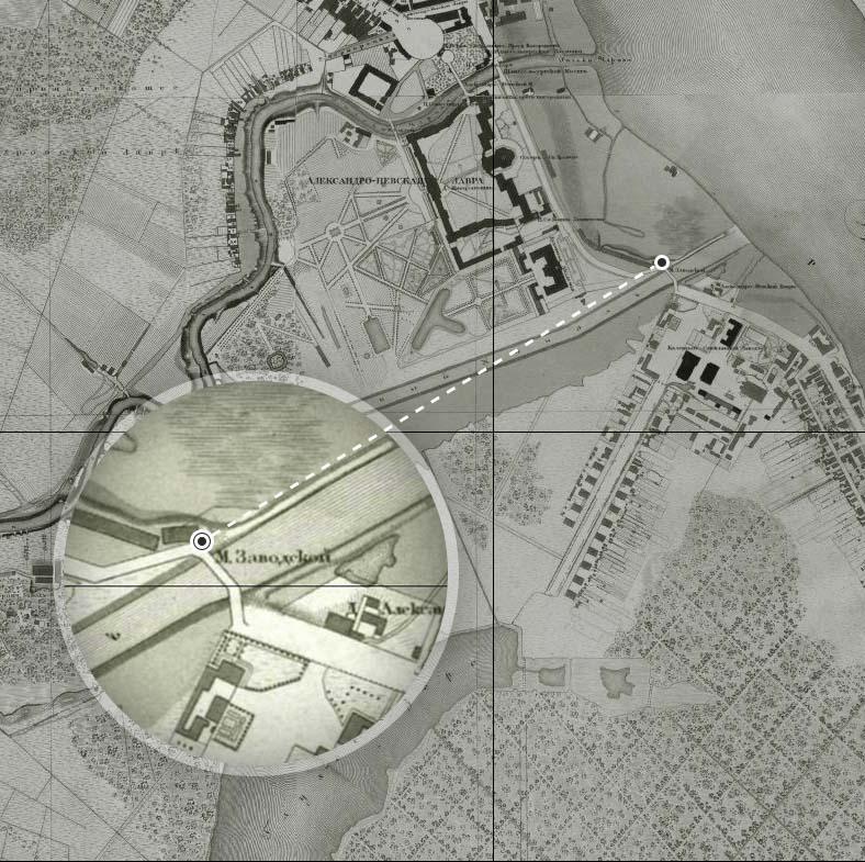 Заводской мост и Казенный стекольный завод на плане Санкт-Петербурга 1828 года