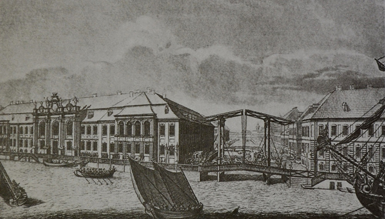 Деревянный подъемный мост первой половины XVIII века (на гравюре — похожий по конструкции мост через Зимнюю Канавку)
