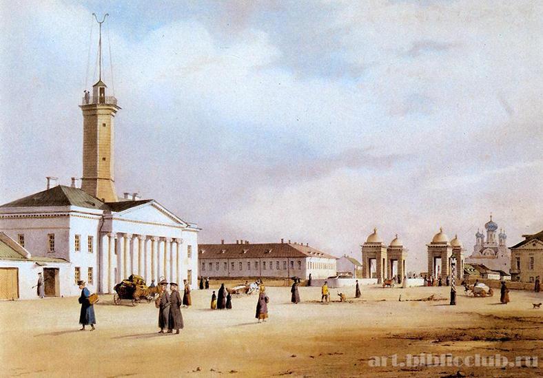 Так выглядело это место во времена Н.В. Гоголя. Фердинанд-Виктор Перро. Площадь у Старо-Калинкина моста. Литография 1840 года
