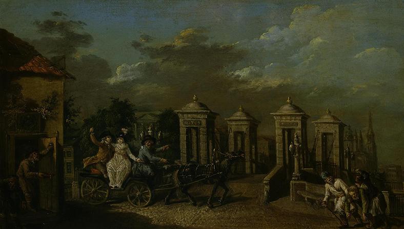 Карл Фридрих Кнаппе. Вид моста через Фонтанку, 1799 год