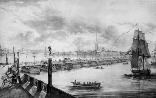 Троицкий наплавной мост в 1820е годы