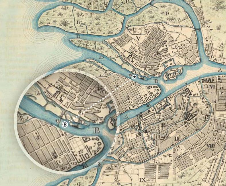 Первый Тучков мост на плане Петербурга 1777 года