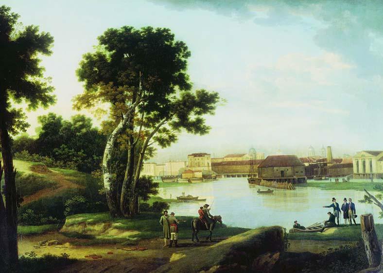 Сильвестр Щедрин. Вид с Петровского острова на Тучков мост и на Васильевский остров в Петербурге, 1815 год