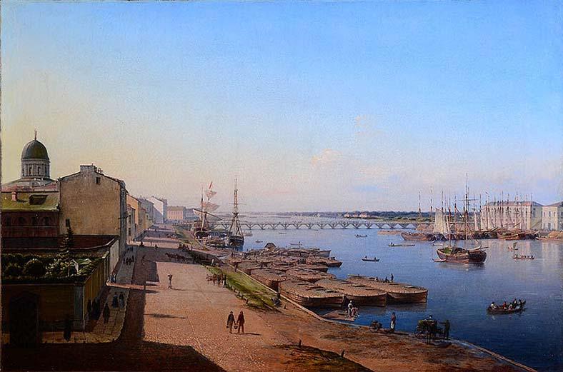 А. И. Иванов-Голубой. Вид Тучкова моста с окрестностями (около 1844 года)