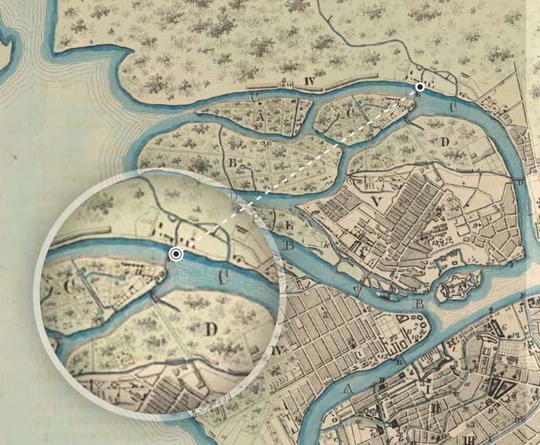 Мост на плане столичного города Санкт-Петербурга 1777 года