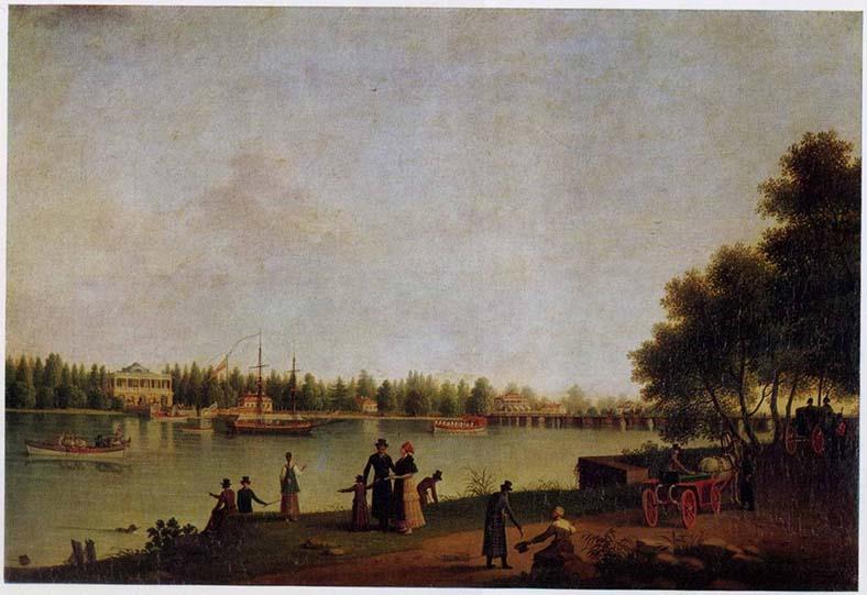 Б. Патерсон. Вид с Каменного острова на Строгановский мост и дачу Строганова, 1804 год
