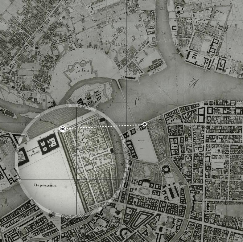 План Санкт-Петербурга 1828 года, два Лебяжьих моста — у истока и в устье канала