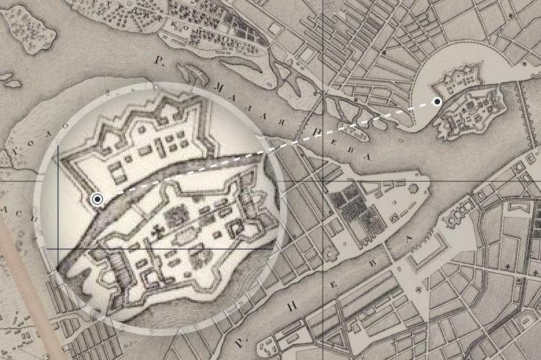 Петропавловская крепость с кронверком и Артиллерийские мосты на плане Петербурга 1817 года